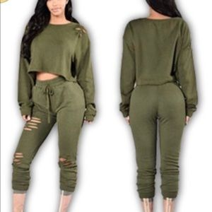 Pants - Olive green distressed track suit